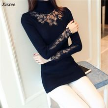 Xnxee New sweater turtleneck pullover Sleeve lace sweater  2018 Korean autumn Couture lace sweater