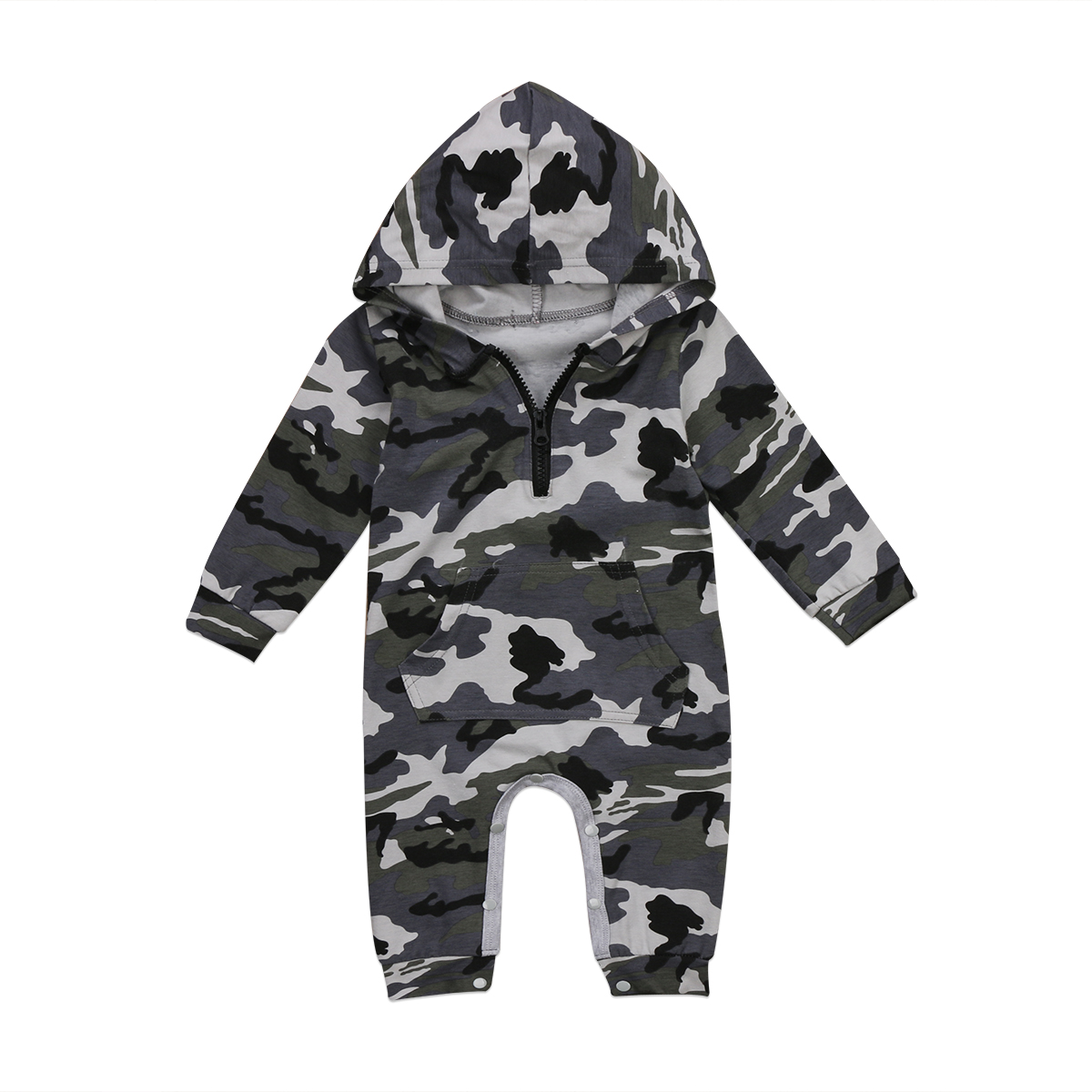 Newborn Baby Boy Girls Hooded Camouflage Cotton Romper Jumpsuit Playsuit One-Pieces Outf ...