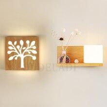 Современное японское простое квадратное настенное бра из массива дерева, настенная лампа с акриловой стеклянной крышкой для гостиной, коридора, светильник