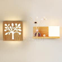 Modern Japanese Simple Square Solid Wood Wall Sconce Acrylic Glass Cover Wall Lamp for Living Room Aisle Light Fixture