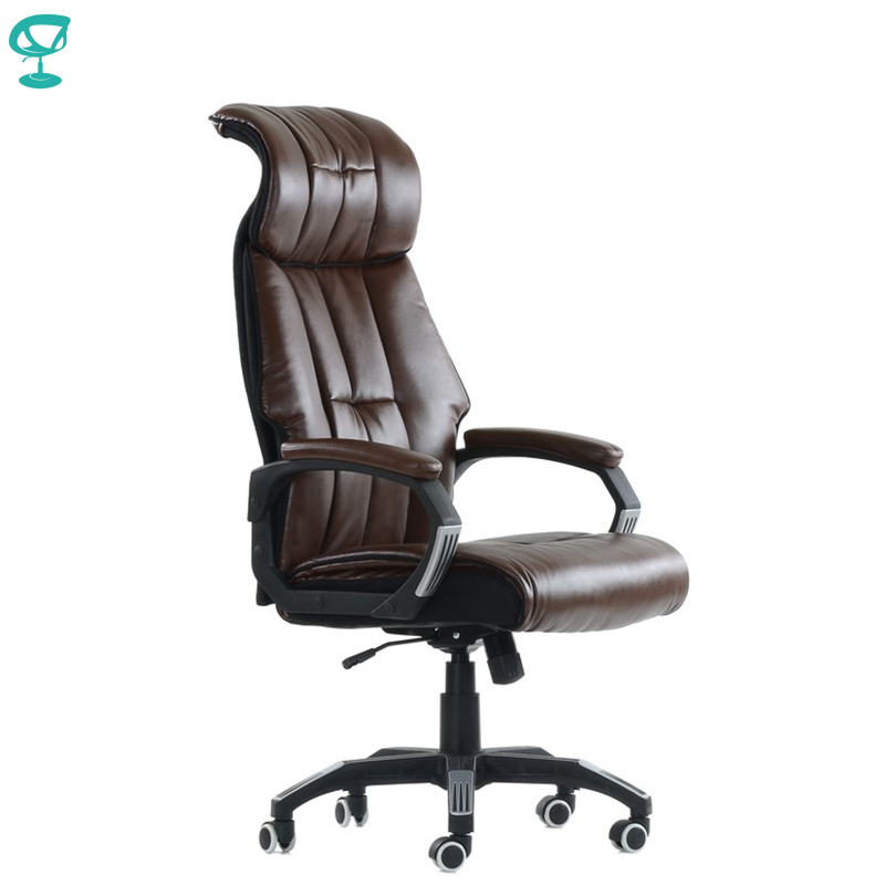 K10PuBrown Office Chair Barneo K-10 Leather High Back Plastic Armrests With Gas Lift Roller Free Shipping In Russia