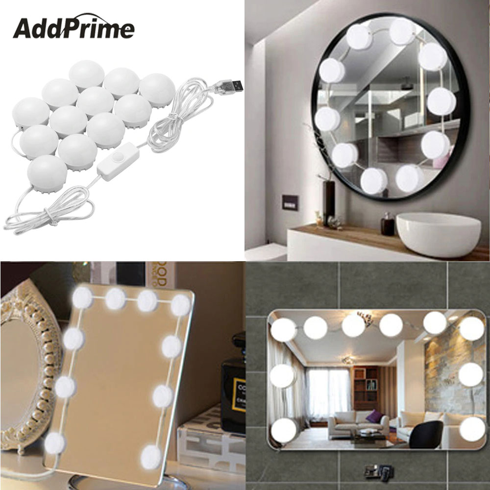 10/12 LED Bulbs Vanity Makeup Mirror Lights Hollywood Style Dressing Table Bathroom Makeup Mirror Light Bulb Kit USB Charging wooden dressing table makeup desk with stool oval rotation mirror 5 drawers white bedroom furniture dropshipping