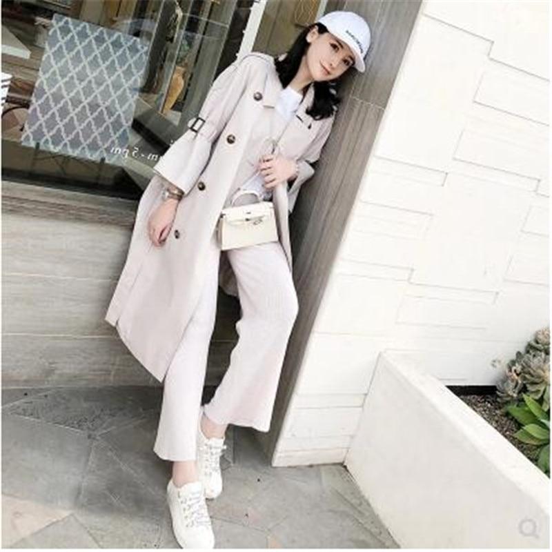De Automne Vêtements Pour Haute K39916 Longues Khaki Manches Long Coréen Coupe vent Tranchée Tissu Corne Manteau Qualité off Mode Femmes White x47wIWXSq