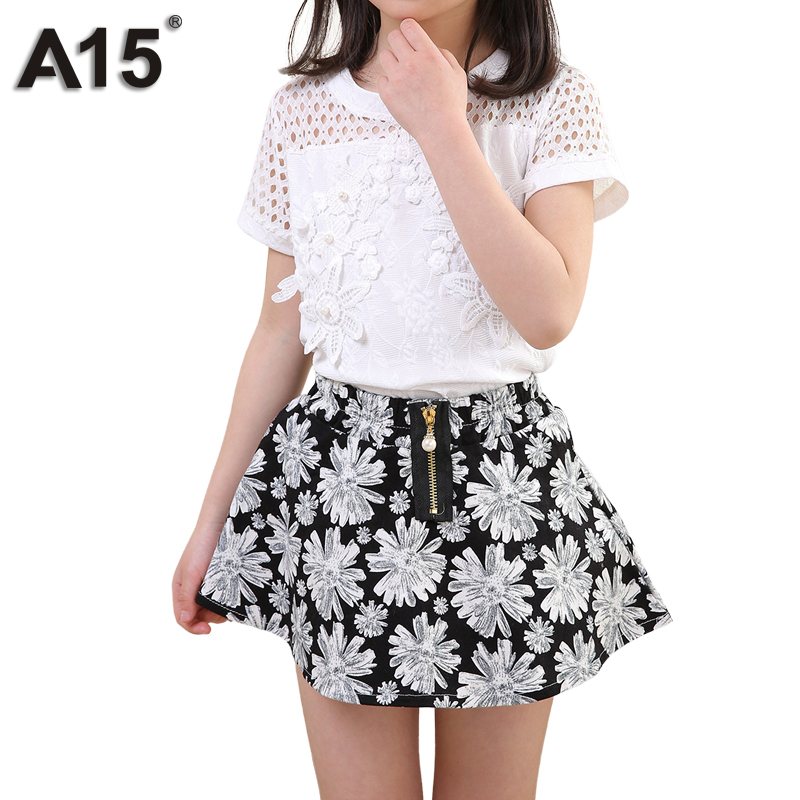 A15 Teenager Girls Clothing Sets 2018 Summer Formal Fashion Pattern Lace Tops and Short Skirt Kids Children Set Age 8 12 14 Year