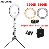 18inch Beauty Ring light with Stand Photography 55W LED Circular Selfie Lamp Bulb with Bag for Photo Video Phone Youtube Makeup