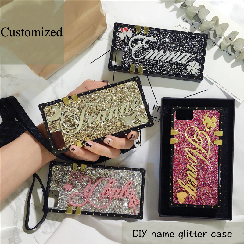 Unique Custom name letter sparkle square phone case for iPhone 11 7 8 plus X max XR for Samsung galaxy s8 s9 s10 plus note 10 9 image