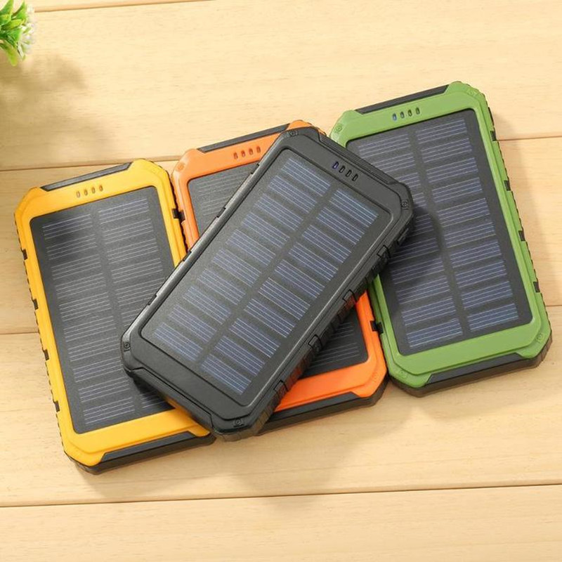 Banco de energía con USB doble 5000mAh banco de energía Solar Paquete de teléfono móvil extremo con LED Paquete de batería externa para iPhone Xiaomi Samsung