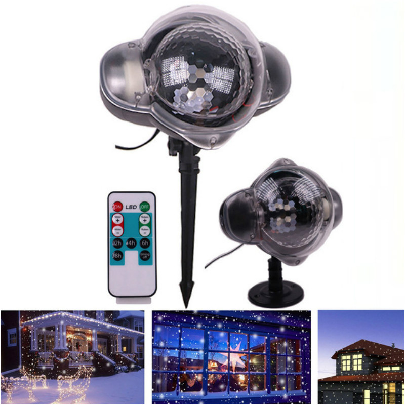Snowfall Projector Lamp Waterproof Laser Projection Led Christmas Party Lights With Remote Control Snowflake Landscape Ligh christmas lights holiday led projector outdoor rotating projection snowflake led lights projection lamp christmas decoration