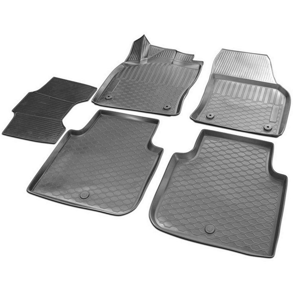 3D floor mats into saloon for Skoda Kodiaq 2017-2019 5 pcs/set (Rival 15105001) rubber floor mats into saloon for skoda rapid 2013 2019 5 pcs set rival 65102001
