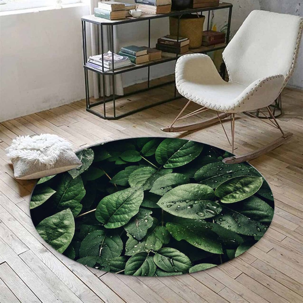 Else Tropical Green Jungle Leaves Florals Water Drops 3d Print Anti Slip Back Round Carpets Area Rug For Living Rooms Bathroom