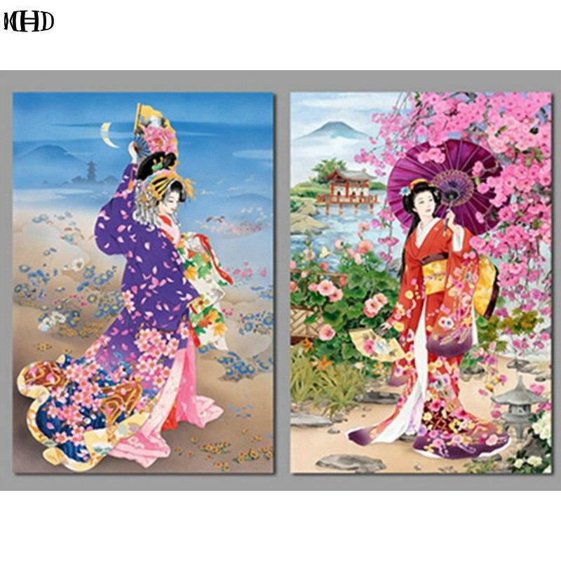 5D Diamant Peinture Point De Croix Japonais femme portrait diamant Broderie Mosaïque pleine forage carré couture décoration de La Maison