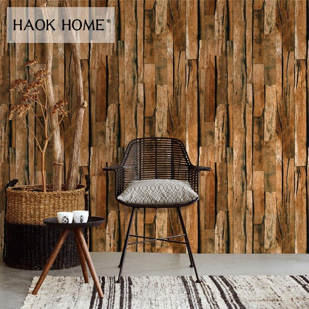 HaokHome Vintage Wood 3d Wallpaper Rolls Brown Wooden Plank Panel Mural Living Room Home Kitchen Bathroom