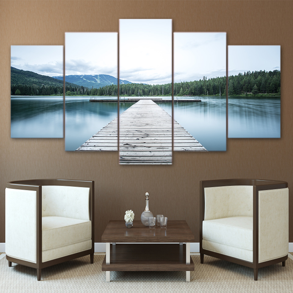 Home Decor Print Canvas Painting 5 Panel Wall Art Lake And Bridge Landscape Canvas Painting Wall Picture For Living Room Decor