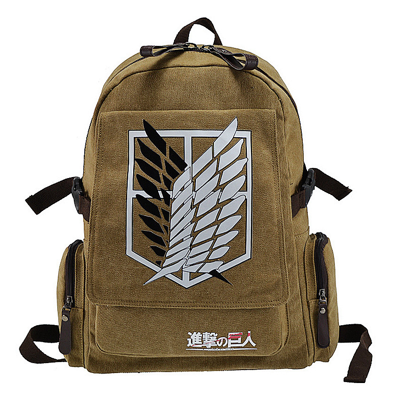 New Design Attack On Titan Backpack Children Schoolbag Teenager Double Straps Shoulder Bag Canvas Anime Printing Daypack