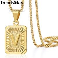 20cm 16cm Mens Womens 18K Yellow Gold Filled Pendant Square Pendant W Capital Letter Fashion Design