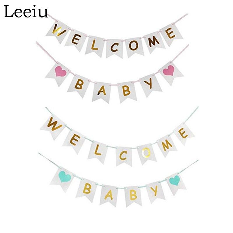 Leeiu торта на день рождения украшения Детские бумага для баннера флаги, розовая, голубая, душ баннеры это для мальчиков и девочек вечерние овс...