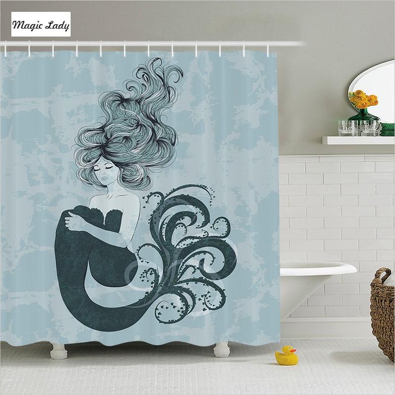 Shower Curtain Little Mermaid Bathroom Accessories Ocean ...