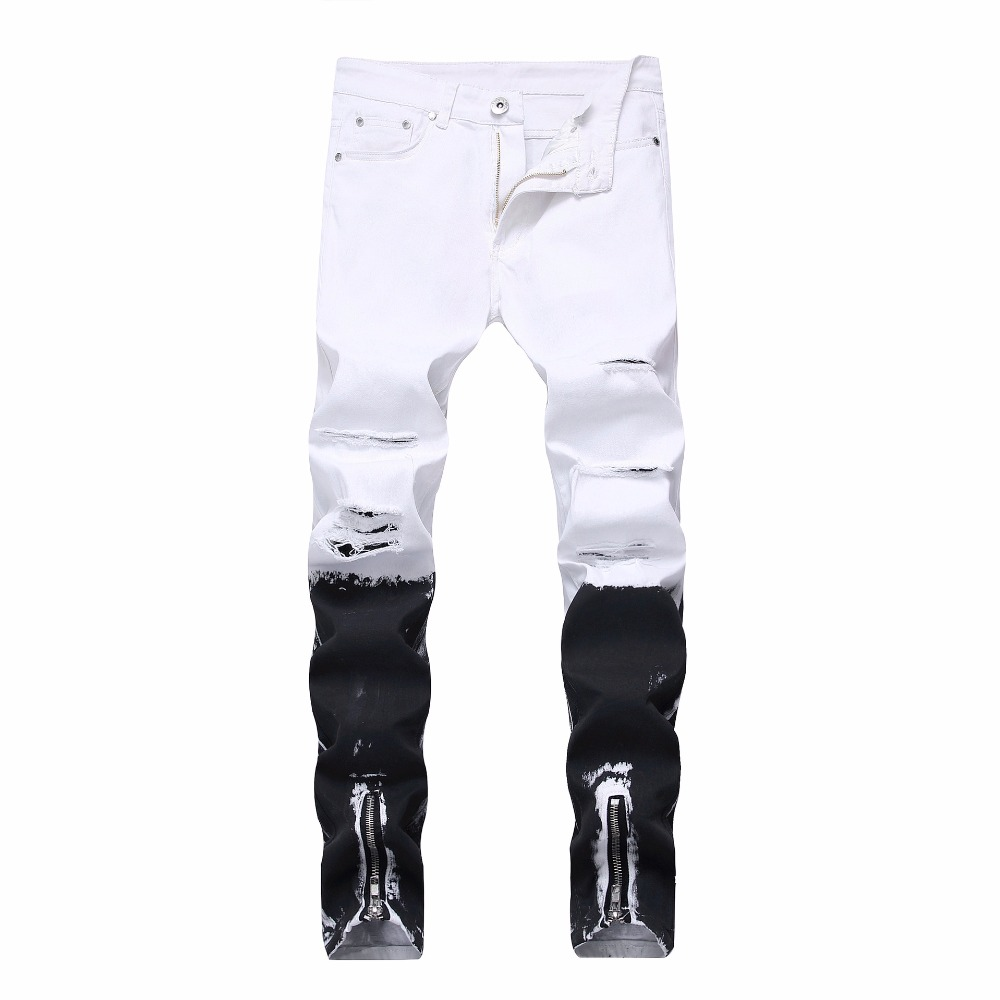 New mens locomotive tight jeans knee wash old hole gradient elastic jeans Slim feet zipp ...
