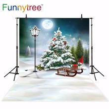Funnytree backdrop for photo studio Christmas tree winter night forest snow moon children photography background photocall christmas snow night tree antiskid bath rug