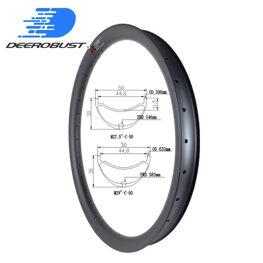 Plus Wide 50mm Carbon Mountain Bike Rims AM 30mm deep MTB Bicycle Rim 29er 29 27