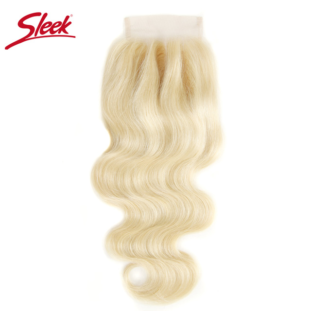 Sleek Remy Blonde 613 Color 4X4 Lace Closure Free/ Middle /Three Part Brazilian Body Wave Human Hair Swiss Lace Closure