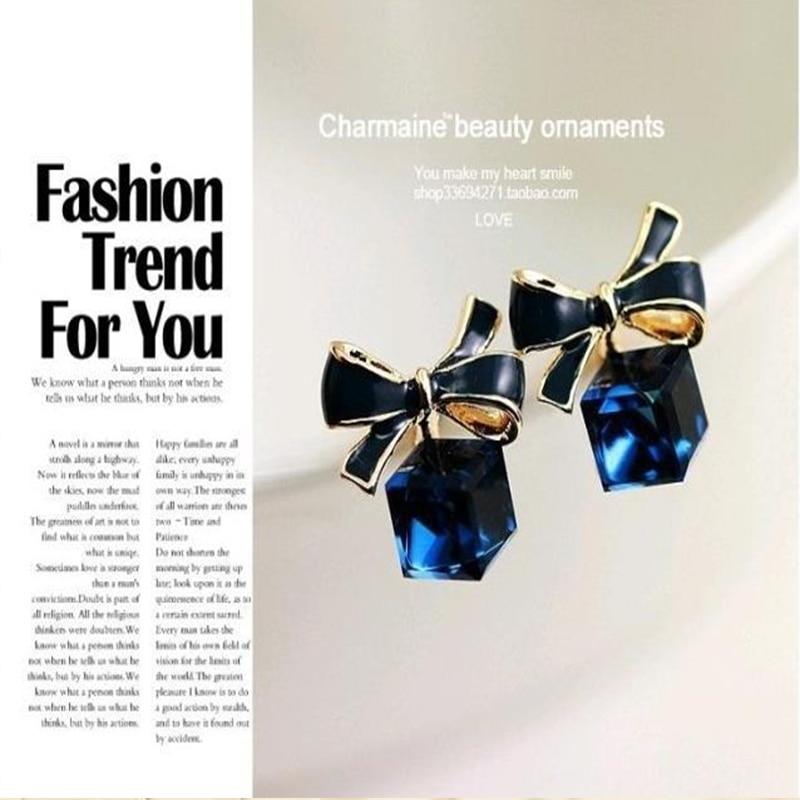 Crystal Square Cute Bow Stud Earrings Zircon Cubic Fashion Temperament Wild Earrings For Women Jewelry Earrings Wholesale