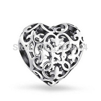 Everbling Jewelry Filigree Fleur De Lis Heart 925 Sterling Silver Charm Bead Fits Pandora European Charms
