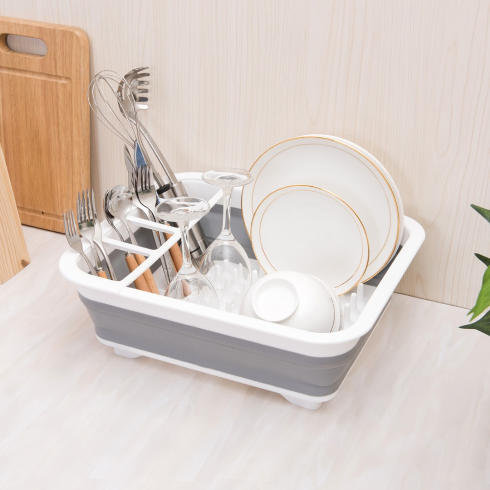 ANHO Kitchen Foldable Dish Rack Storage Holder Drainer Bowl Tableware Plate Cup Drying Rack Home Shelf Dinnerware Organizer