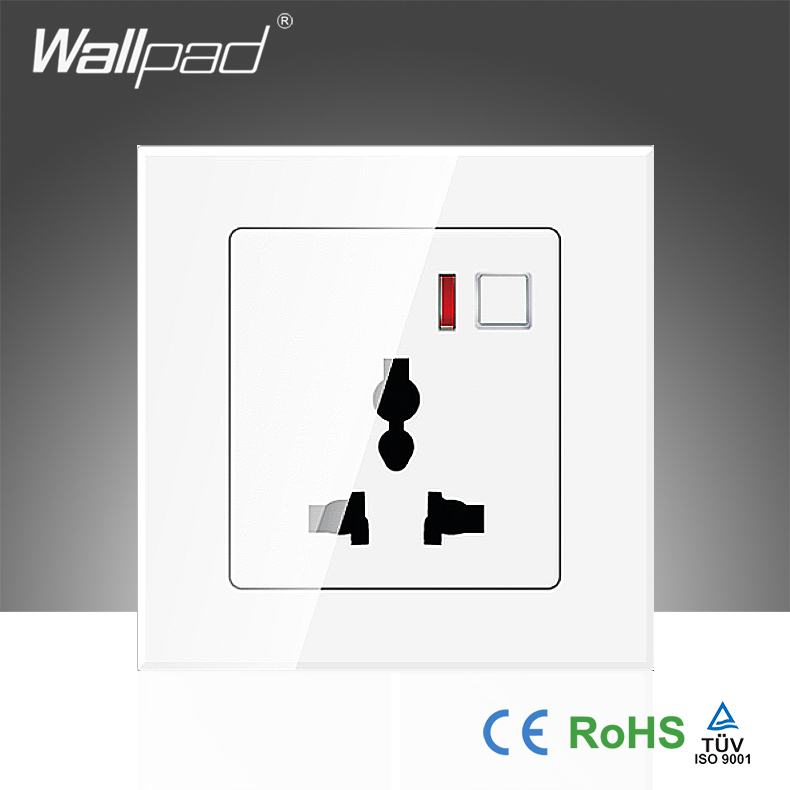 New Arrival Wallpad White Glass LED EU 110~250V App Wifi Wireless Universal Remote Control Power Wall Plug Socket,Free Shipping 3d cartoon cat kisses fish pattern protective abs back case for iphone 6 plus white green