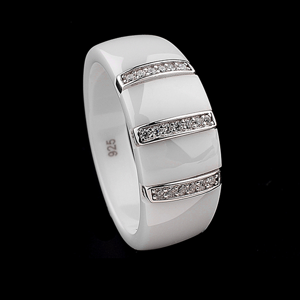 9mm New Electroplated Dome Ring Ceramic Polished S925 Sterling Silver Embedded Jewelry 1pc polished brushed 9mm wide band ring 100