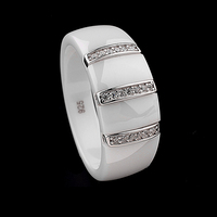 9mm New Electroplated Dome Ring Ceramic Polished S925 Sterling Silver Embedded Jewelry
