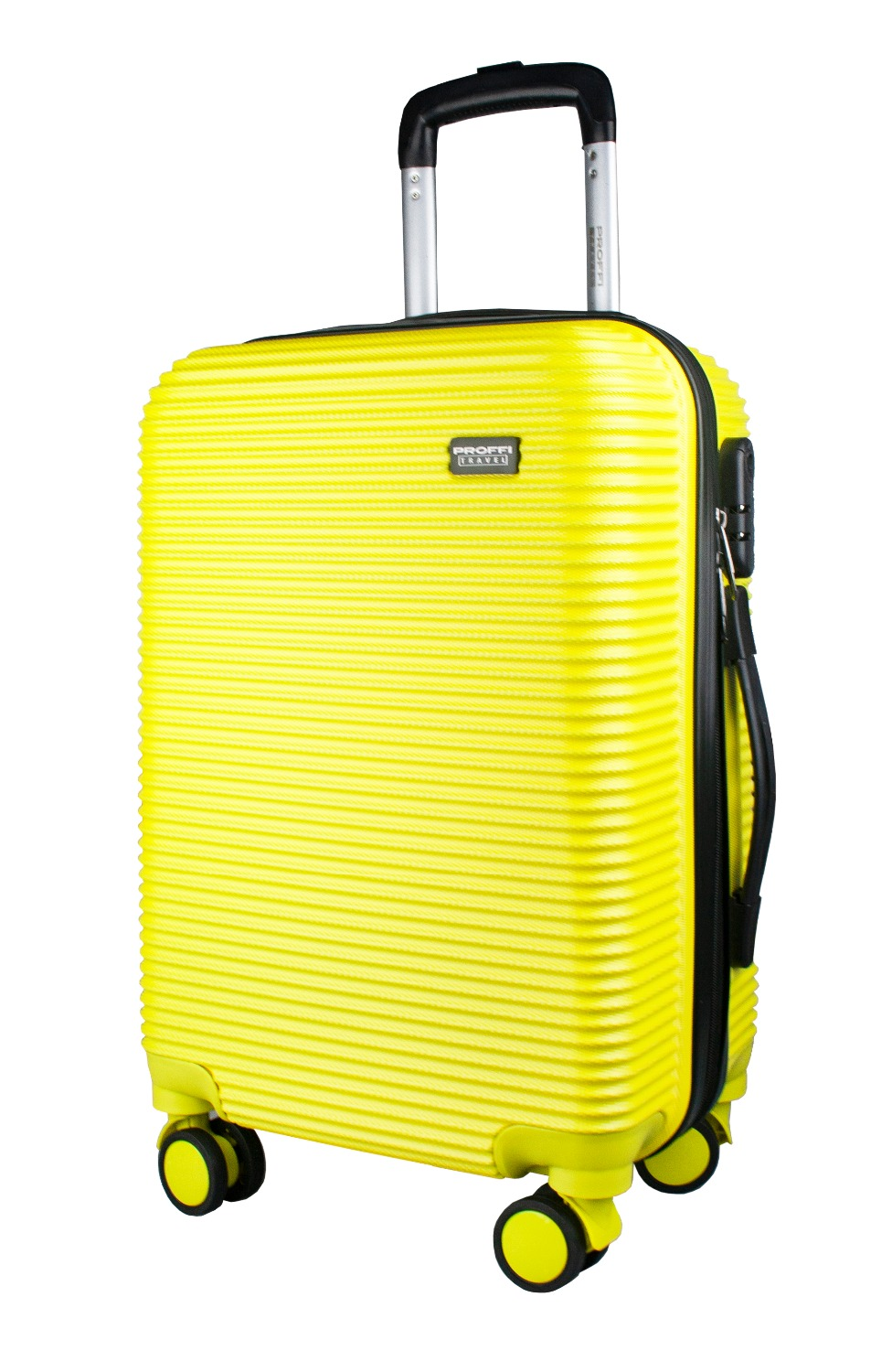 Plastic suitcase PROFFI TRAVEL PH9535yellow on wheels, S, with built-in weights 1 silent plastic fixed castor wheels diy silicone caster 10pcs