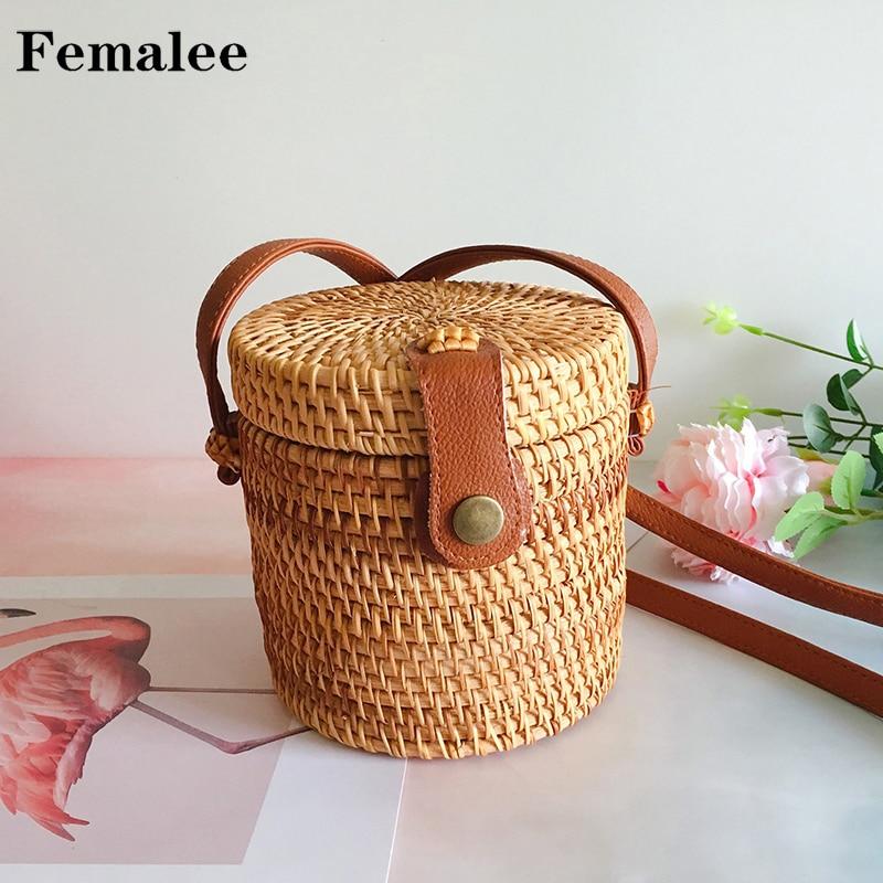 FEMALEE Beach Bags For Women Cylinder Rattan Summer Mini Bohemian Barrel Crossbody Bag Woven Handmade Braided Shoulder Bolsa Bag cylinder shaped mini crossbody bag