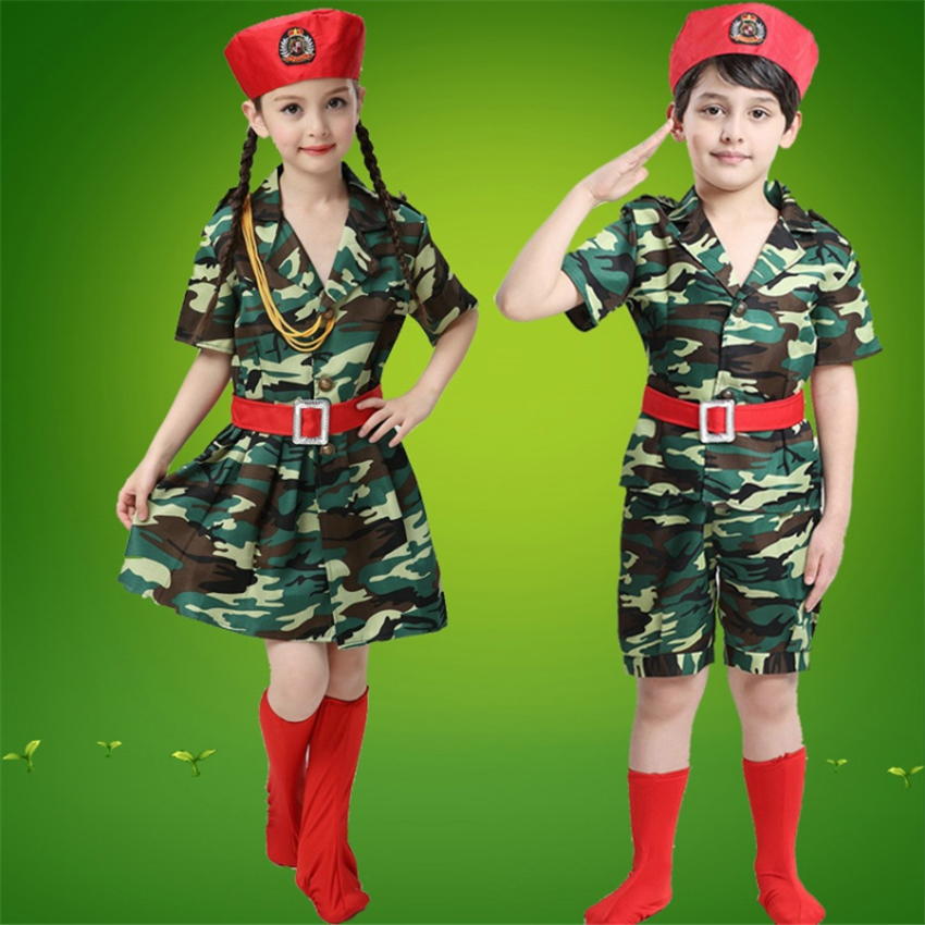 Halloween Party Stage Wear Performance Scouting Military Uniforms 5PCs Combat Shirt+shorts+hat+socks+belt Boys Army Suit