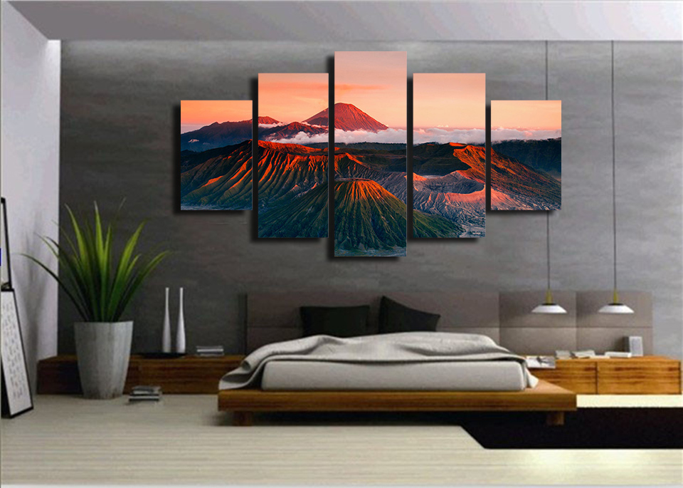 Canvas Wall Art Pictures Framework Home Decor Room Poster 5 PiecesThe Red Mount Peaks Clouds HD Printed Landscape Painting in Painting Calligraphy from Home Garden