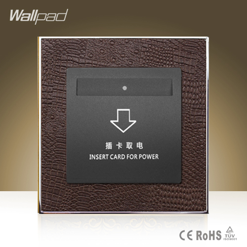 CE BS Approved Wallpad Hotel Inserd Card Power Socket Goats Brown Leather 40A High Frequency Sensor Card Switch Free Shipping