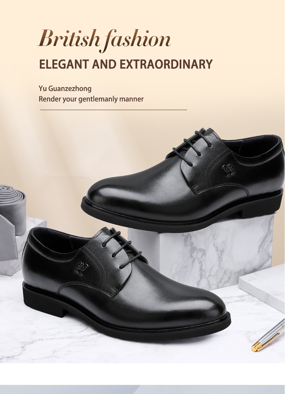 ebcf1a950a HOT SALE] CAMEL Business Wedding Dress Shoes England Genuine Leather ...