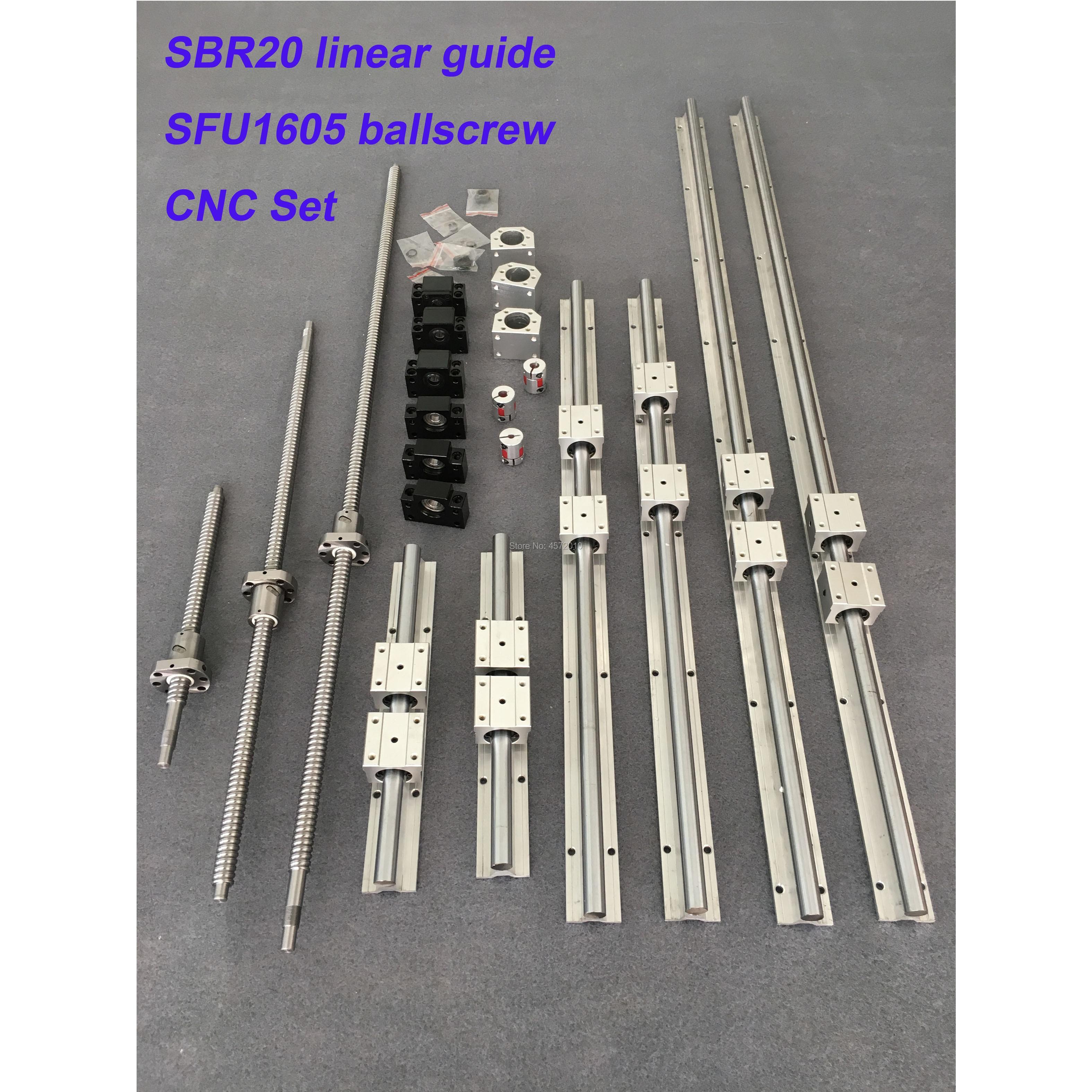 SBR20 6 sets SBR20 - 500/1500/2500mm linear guide rail + SFU1605 SFU2005 ballscrew +nut + Coupling + Nut housing + cnc parts