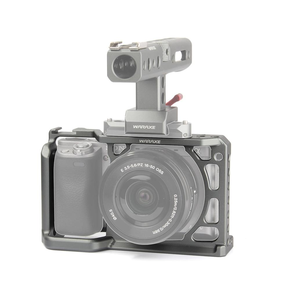 WARAXE A6 Camera Video Cage for Sony ILCE-6000/ILCE-6300/ILCE-A6500 with 1/4 and 3/8 Threaded Holes Cold Shoe Base waraxe a6 camera cage for sony ilce 6000 ilce 6300 ilce a6500 with 1 4 and 3 8 threaded holes cold shoe base free shipping