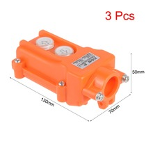 UXCELL 3pcs Switches Rainproof Hoist Crane Pendant Control Station Push Button Switch Up Down 2 Ways Orange For And