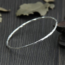 Retro Antique Wristband Cuff Bracelets & Bangles Male Solid 999 Sterling Silver Bangle Faceted Design Unique Women Men