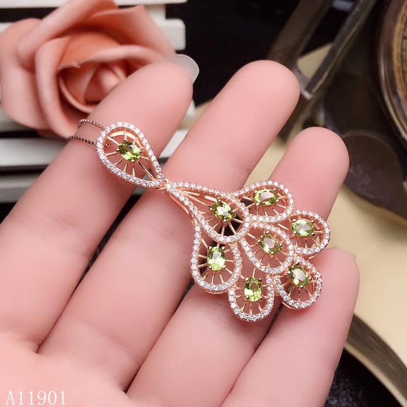 KJJEAXCMY boutique bijoux 925 pur argent incrusté naturel olivine pierre gemme pendentif + Xian support détection