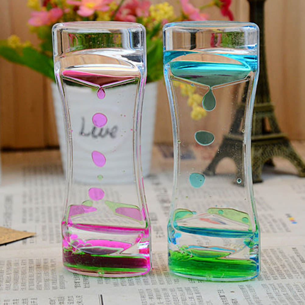 Color Random Floating Mix Illusion Timer Liquid Motion Visual Slim liquid Oil Glass Acrylic Hourglass Timer Clock Ornament Desk