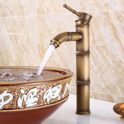Antique Brass Waterfall Bathroom Sink Faucet Vessel Tall Bamboo Water Tap Mixer Hot and Cold Single Hole Basin Faucet VintageAntique Brass Waterfall Bathroom Sink Faucet Vessel Tall Bamboo Water Tap Mixer Hot and Cold Single Hole Basin Faucet Vintage