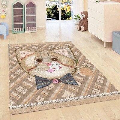Else Brown Geometric Tiles Funny Cat Bow Tie Kids Room 3d Print Non Slip Microfiber Children Kids Room Decorative Area Rug Mat
