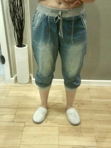 Summer Plus Size Casual Soft Loose White Polished Waist Elastic Women Harem Jeans Comfortable Sports Capris Jeans photo review
