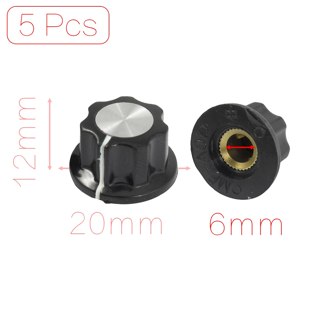 10 Pcs Black Silver Tone 19mm Top Rotary Knobs for 6mm Dia Shaft Potentiometer