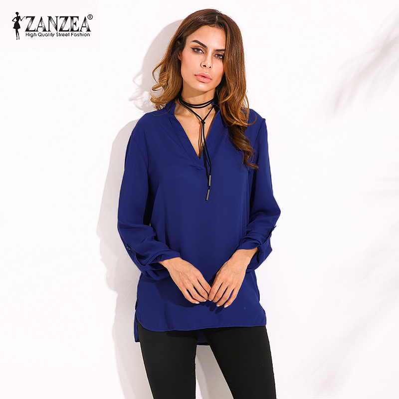 Zanzea 2017 summer women vintage blouses sexy v neck long for How to roll up sleeves on women s dress shirt