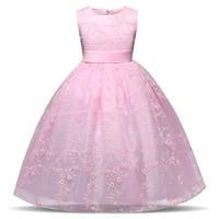 2018 Vestuário Infantil Vestidos Da Menina de Flor Vestido Formal Longo Vestido de Noite Desgaste Do Partido Adolescentes Adolescentes Roupa Dos Miúdos Tutu de Tule Menina