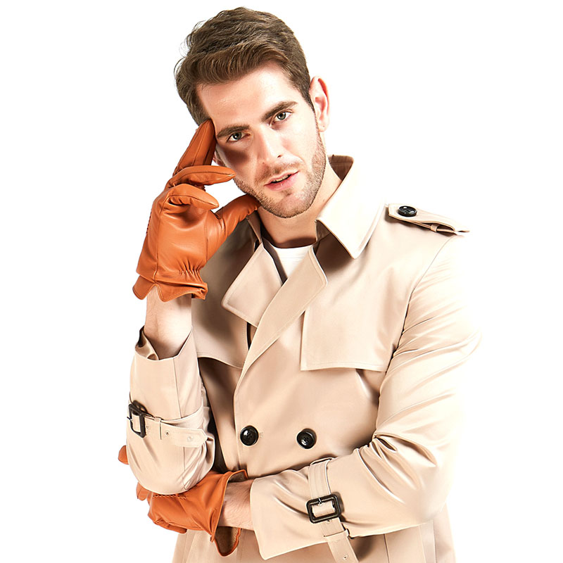 3 Harssidanzar-Mens-Classic--Italian-Sheepskin-Leather-Gloves-Vintage-Finished-Wool-Lined-Tan